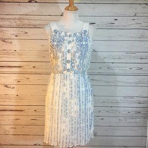 {MODCLOTH} NWT Blue & White Pleated Sundress
